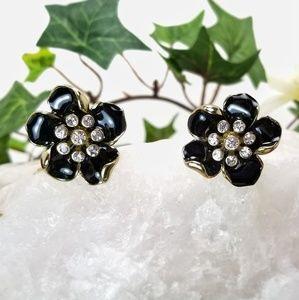 Jewelry - Black Enamel Flower Earrings